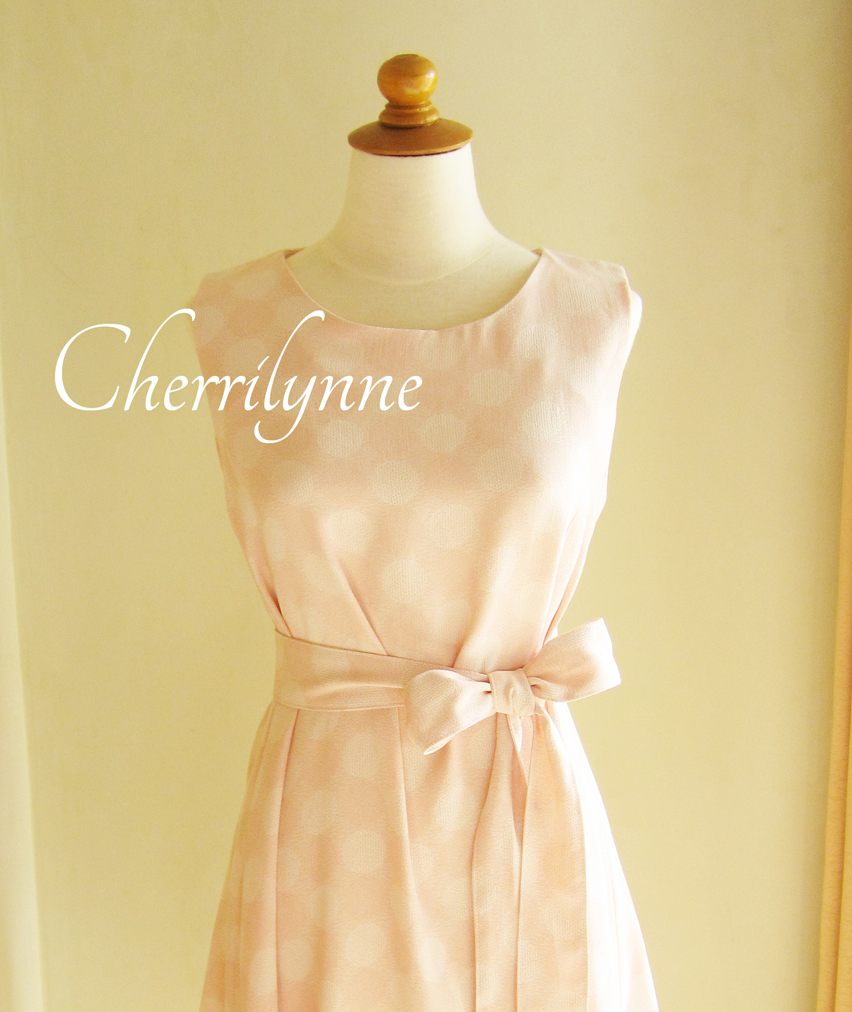 Sleeveless Tent Dress with Sash in Pale Peach Pastel Color Polkadot