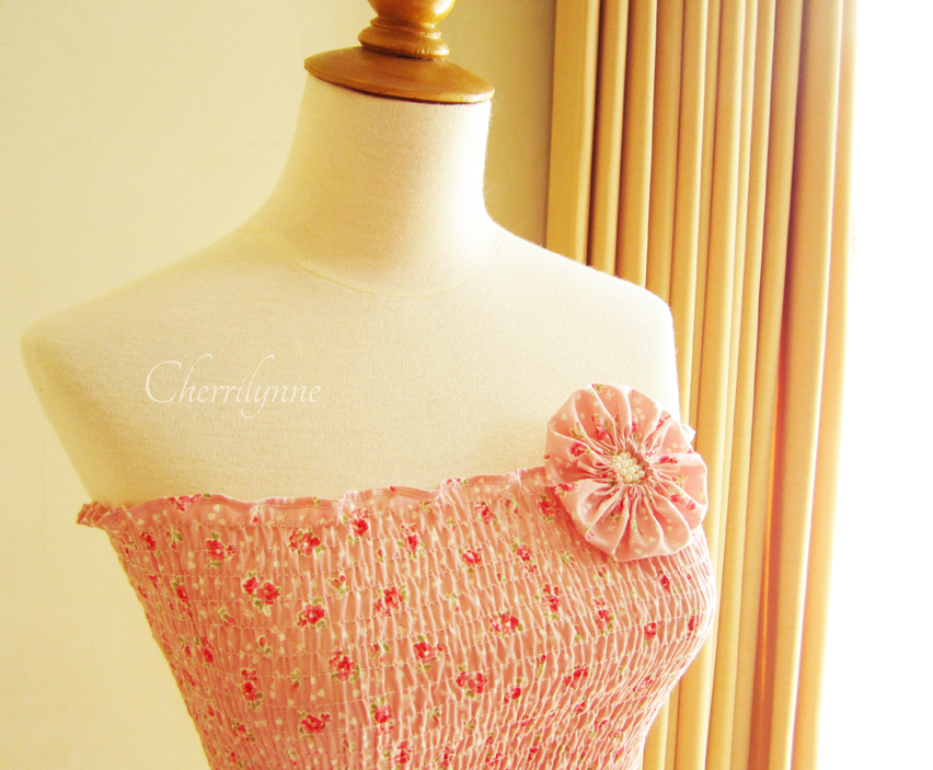 Summer Dress Pink Floral Print Japanese Cotton with Fabric Flower Brooch