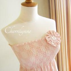 Summer Dress with Smocking Details and Fabric Flower Brooch