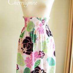 Smocked High Waisted Skirt Floral Pattern