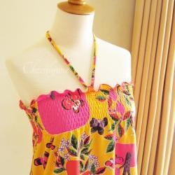 Summer Top Orange Fruity Floral Butterfly Print